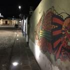 LED lights illuminate a mural in the Xanenetla Historic Barrio in Puebla, Mexico. Photo by Roberto Treviño.