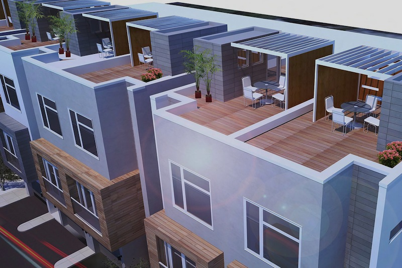 Each of the 14 townhomes will have a rooftop terrace that includes electricity and plumbing. Rendering courtesy of Live 825.