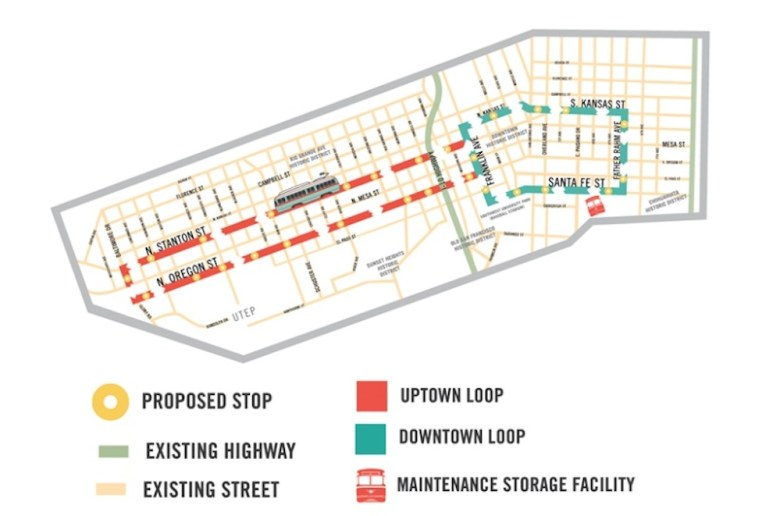 A streetcar is also planned to join the rapid transit lines.  Graphic courtesy of the City of El Paso.