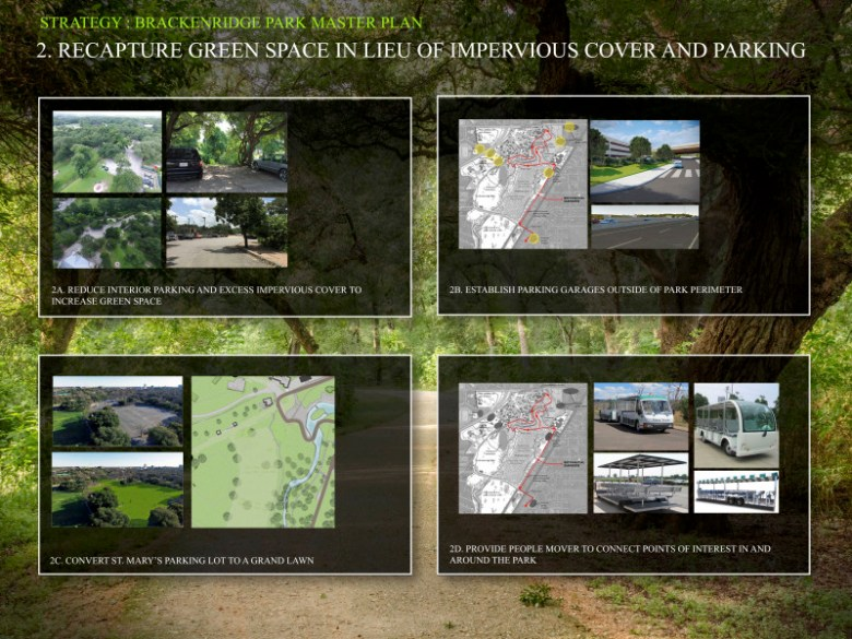 Strategy 2: Recapture green space in lieu of impervious cover and parking. Graphics courtesy of San Antonio Parks and Recreation Department.