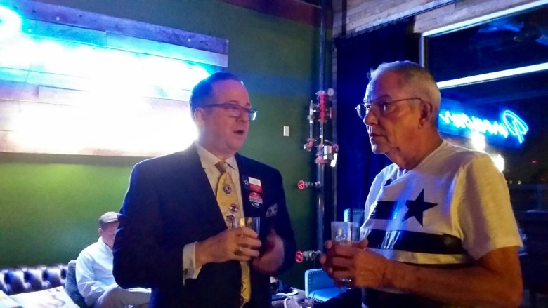 Keith Pomykal (left) and Don Maison, both from Dallas, chat at the Texas Stonewall Democratic Caucus party at Paramour on Thursday, June 16, 2016. Photo by Edmond Ortiz