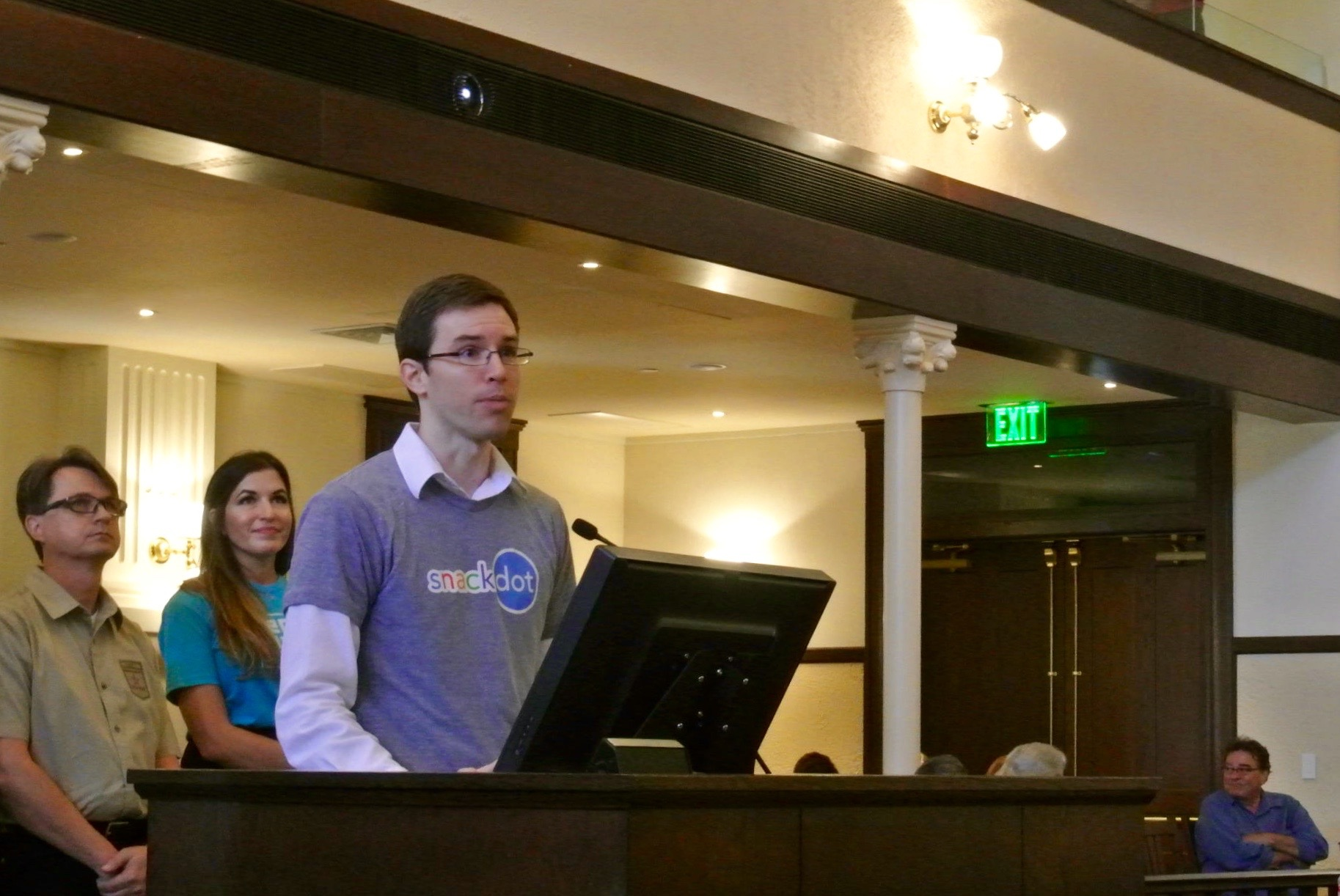 SnackDot Founder Chris Turner presents his startup to the County Commissioners. Photo by Sarah Talaat.