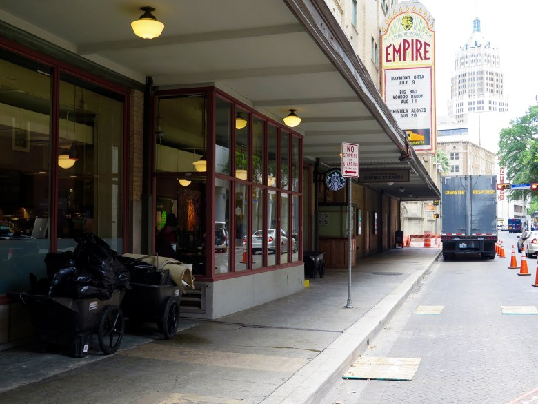 The sidewalk on the block of 200 N. St. Mary's St. is closed Wednesday after a sprinkler system flooded the Brady Tower apartments and the Empire Theatre Monday. Photo by Sarah Talaat.