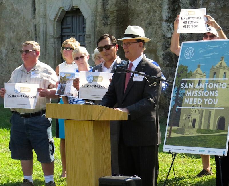 Bexar County Judge Nelson Wolff calls locals to visit www.voteyourpark.com and #VoteYourPark. Photo by Katie Walsh.