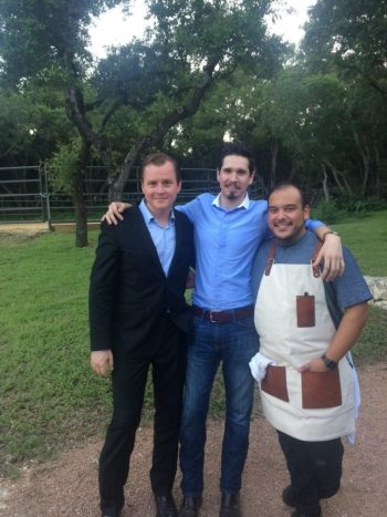 """From left to right: Brent """"Doc Watkins, General Manager Jake Corney, and Head Chef Lorenzo Morales celebrate the Sneak Peek of Jazz, TX.  Photo courtesy of Adam Tutor"""