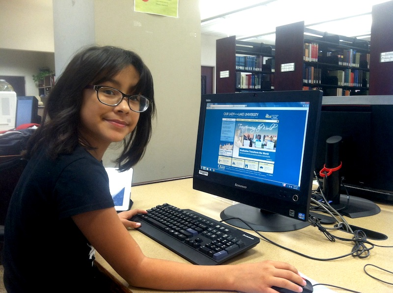 Valentina at Our Lady of the Lake University's library. Photo by Marisela Barerra.