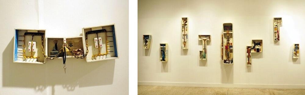 Left: John Dalton Atkins, Old Left Hook, Right Hook, 2015, mixed media. Right: John Dalton Atkins, installation view. Photos by David S. Rubin.