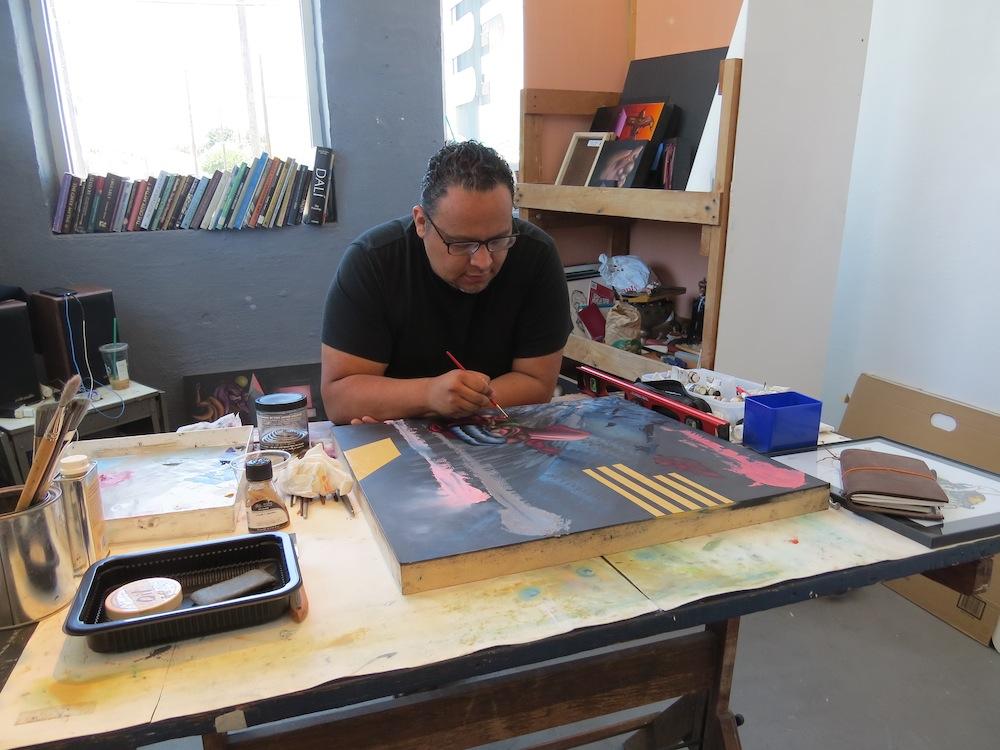 Alejandro Augustine Padilla at work in his studio. Photo by David S. Rubin.