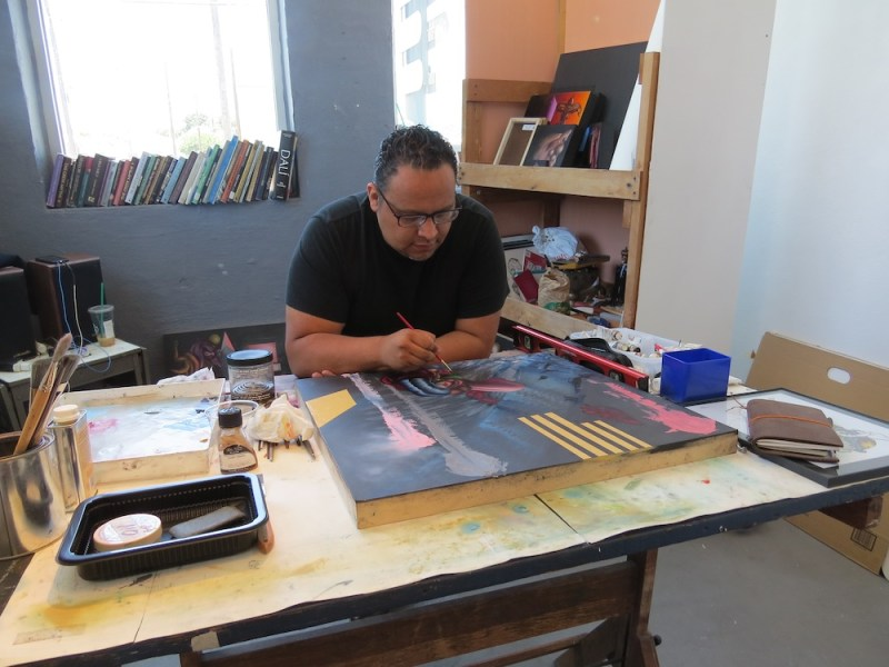 Alejandro Augustine Padilla at work in his studio. Photo by David S. Rubin.