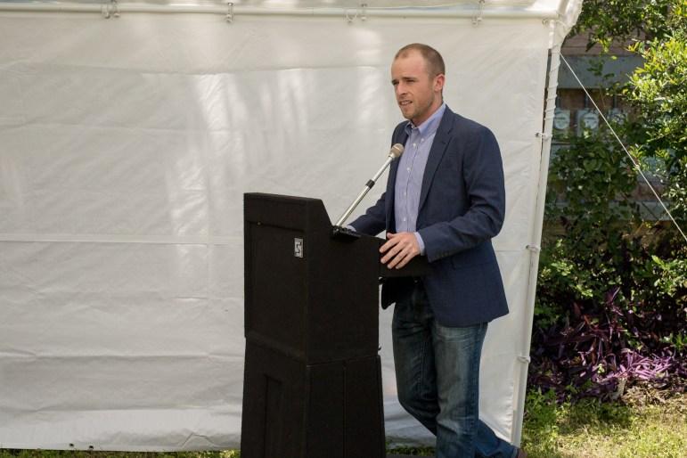 Development lead, Pat Biernacki opens the press conference for 825 East Josephine Street. Photo by Scott Ball.