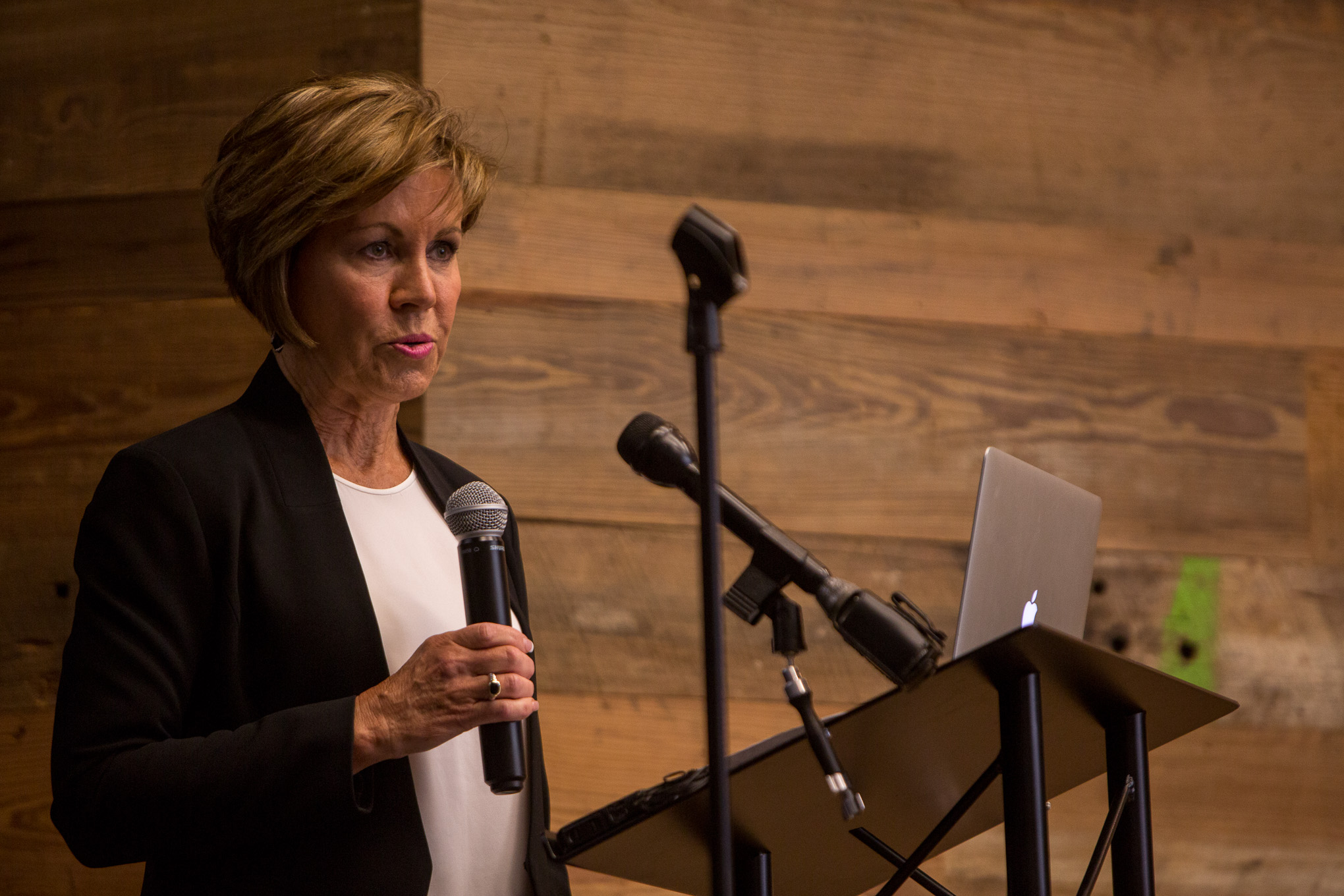 San Antonio City Manager Sheryl Sculley addresses the tech community at the Geekdom Event Center. Photo by Scott Ball.