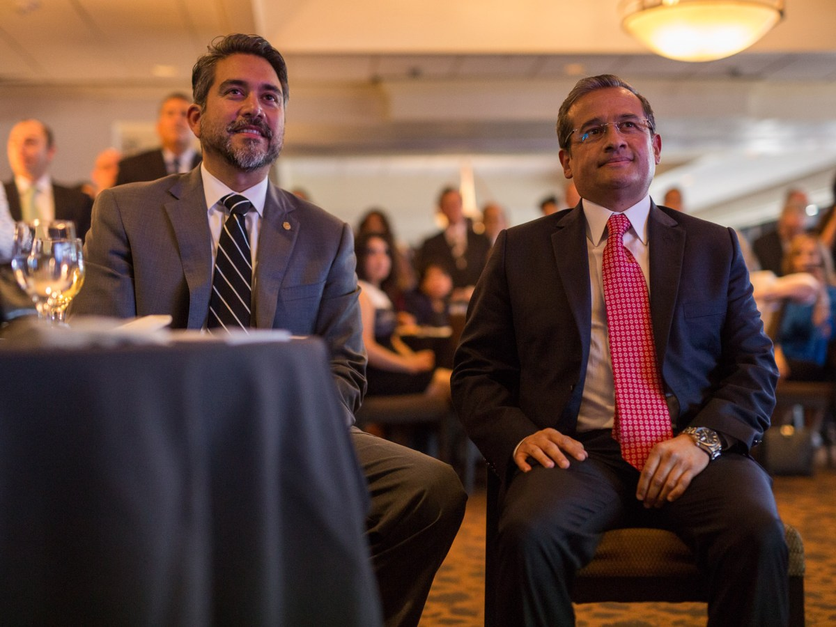 Councilman Roberto Treviño (D1) and Mexican Consul General of Mexico in San Antonio Héctor Velasco Monroy listen to introductory speeches. Photo by Scott Ball.