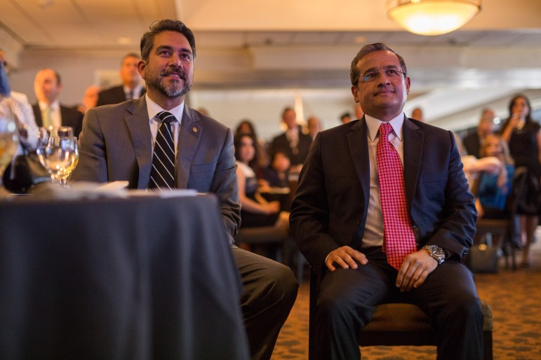 Councilman Roberto Treviño (D1) and Mexican Consul General of Mexico in San Antonio Héctor Velasco Monroy listen to introductory speeches. Photo by Scott Ball.