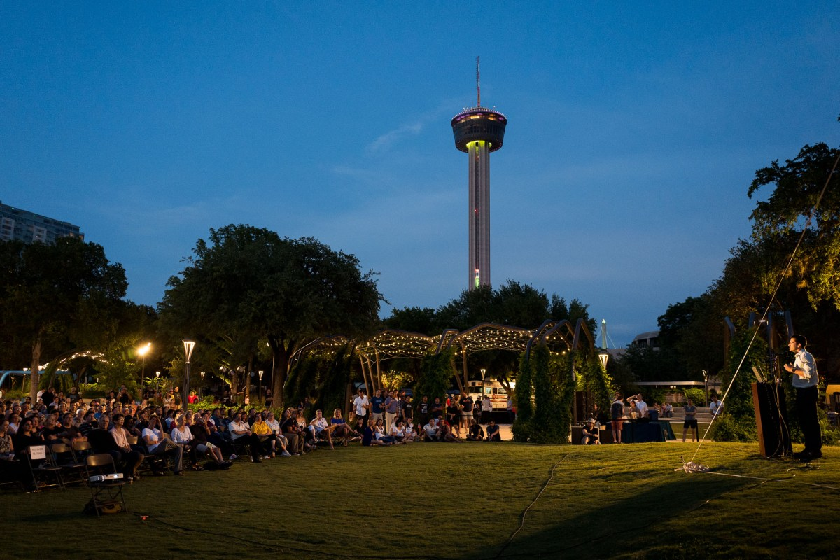 Director of Real Estate at Hemisfair Omar Gonzales speaks to his journey that led him back to San Antonio. Photo by Scott Ball.