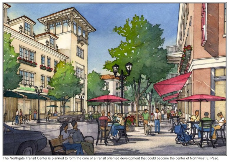 Sketches from Plan El Paso show an example of the transit-oriented development the city wants around its new rapid transit lines.  Rendering courtesy of the City of El Paso.