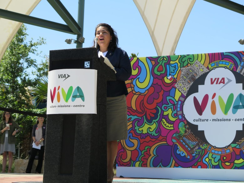 Councilwoman Rebecca Viagran explains why the new VIVA routes matter to the San Antonio Missions. Photo by Katie Walsh.