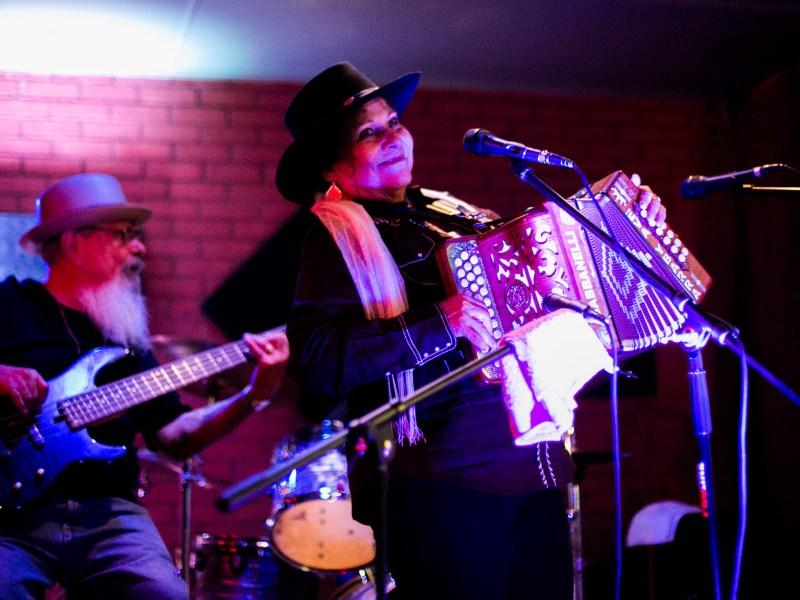 Eva Ybarra, la reina del acordeón, performs at Squeeze Box. Photo by Kathryn Boyd-Batstone.