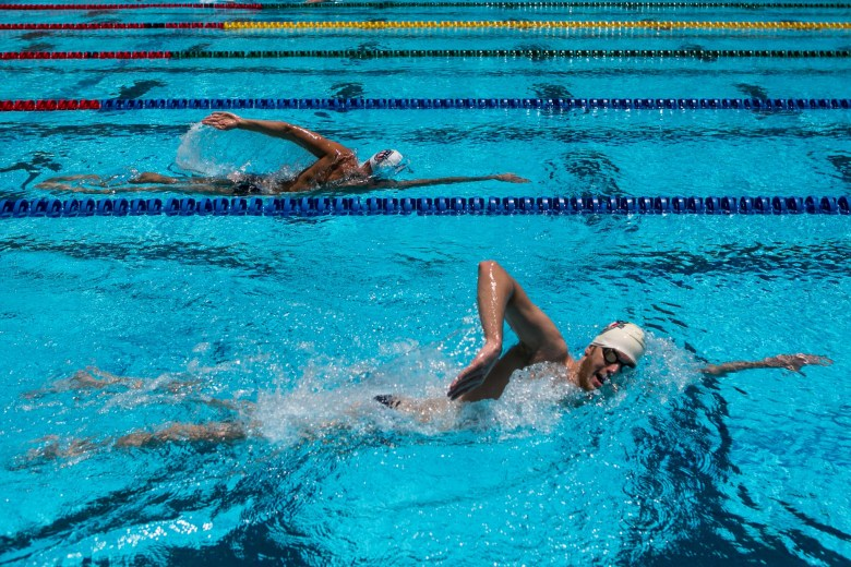 Kevin Cordes swims laps at the San Antonio Northside Natatorium. Photo by Kathryn Boyd-Batstone.