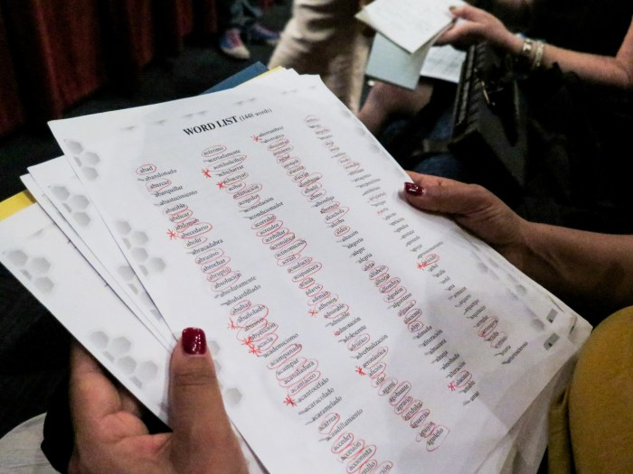 A contestant's mother holds the list of 1,448 words that the students studied for the competition. Photo by Rocio Guenther.