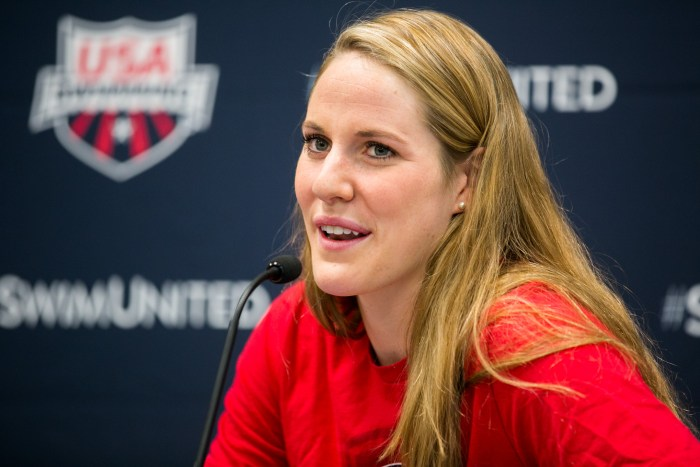 Olympic swimmer Missy Franklin answers questions about what it's like to represent the U.S. in the Olympics. Photo by Kathryn Boyd-Batstone.
