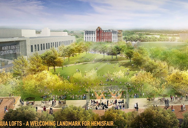 A rendering of Acequia Lofts in Hemisfair Park. Image courtesy of Lake/Flato Architects.