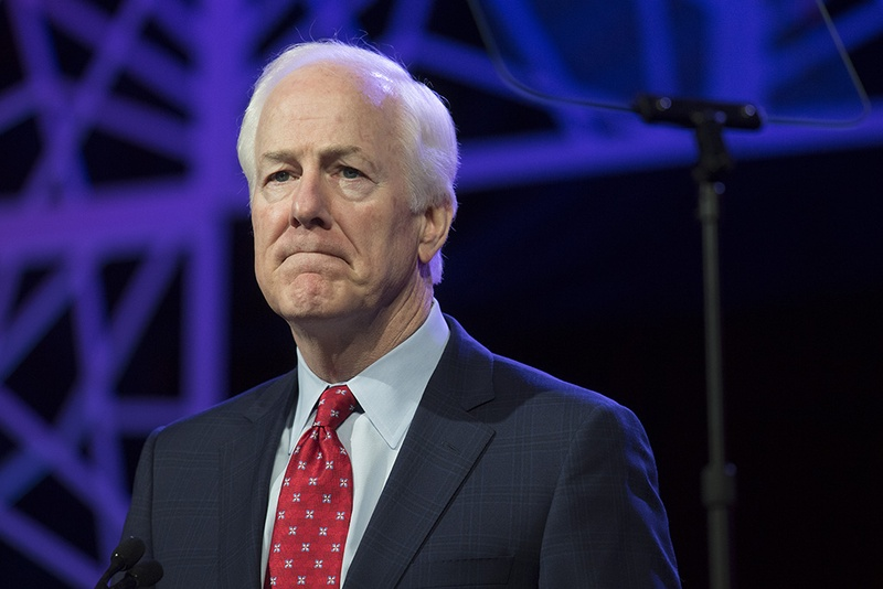 U.S. Sen. John Cornyn wraps up his keynote address to delegates at the Republican Party of Texas convention in Dallas on May 13, 2016