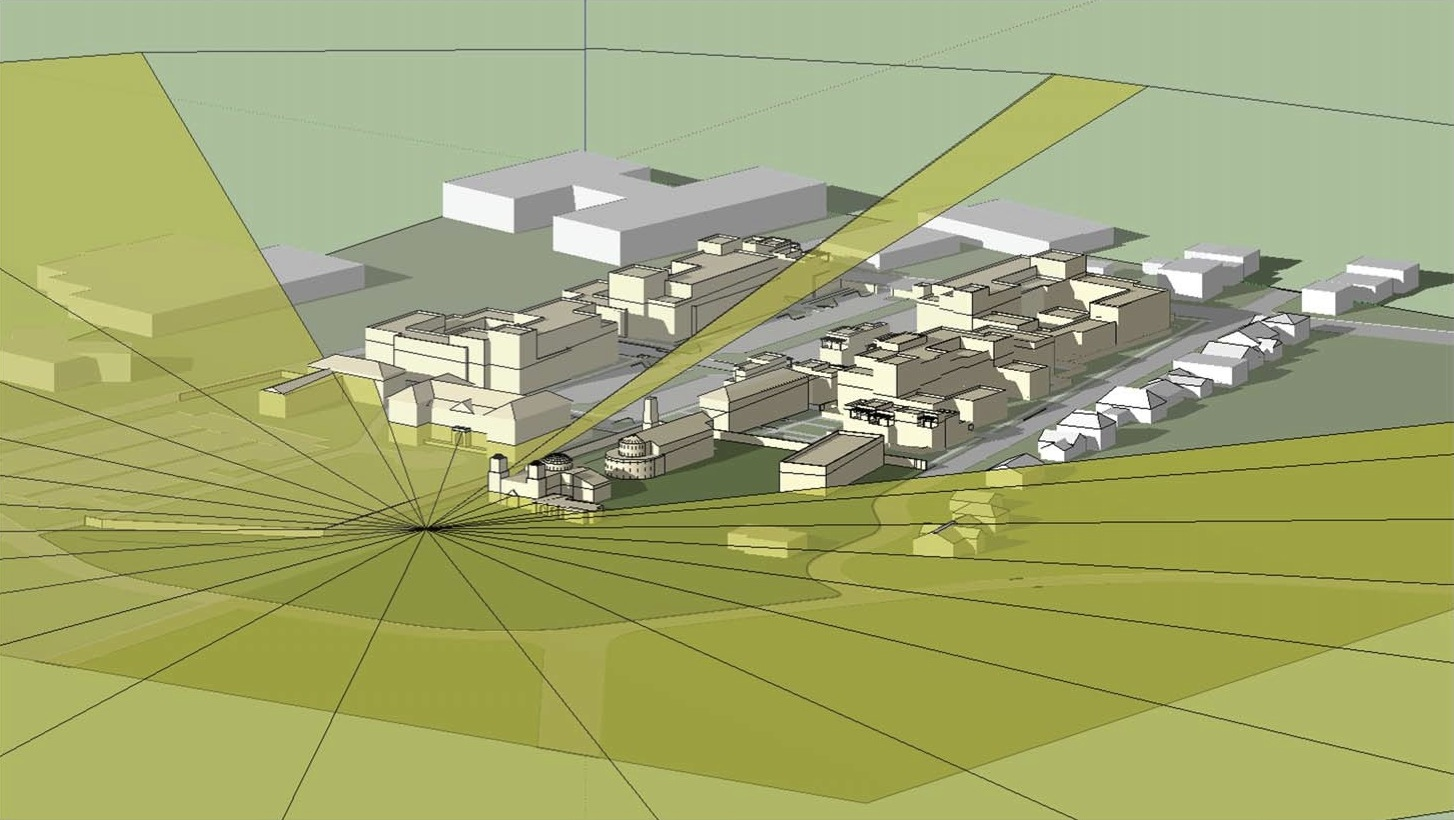 Line of sight model from Mission Protection Overlay marker without existing foliage. Rendering courtesy of B&A Architects.