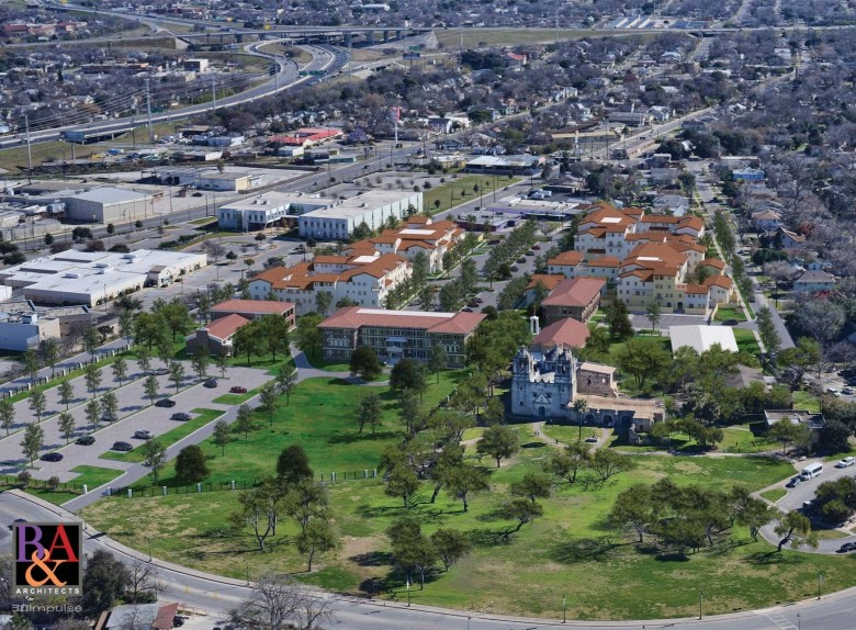 An aerial view of the proposed Villa Concepción apartment complex looking east. Rendering courtesy of R&A Architects.