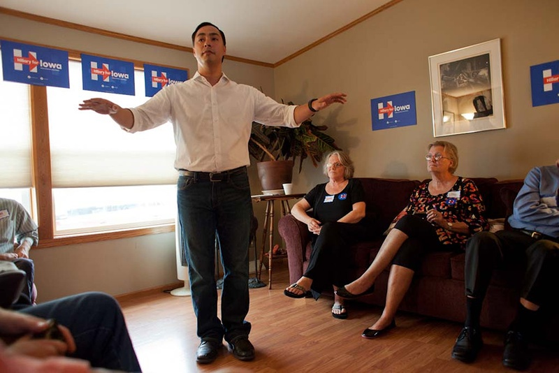 U.S. Rep. Joaquin Castro, D-San Antonio, speaks to a group of Hillary Clinton supporters at a morning campaign event held at the home of Mark and Sharon Naughton in Iowa City on Sunday, August 30, 2015. Castro was on the first of four campaign stops in Iowa. Photo by Rebecca F. Miller