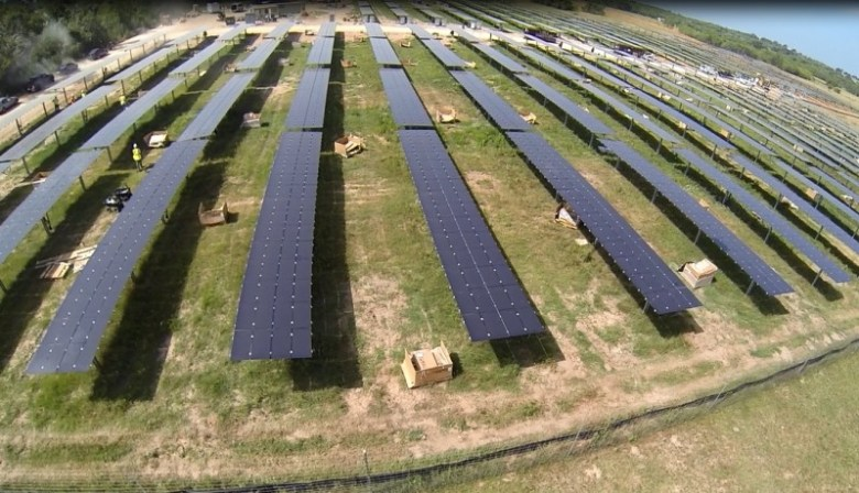 Clean Energy Collective's 1.2 MW solar farm in Adkins, Texas. Drone photo courtesy of Clean Energy Collective.