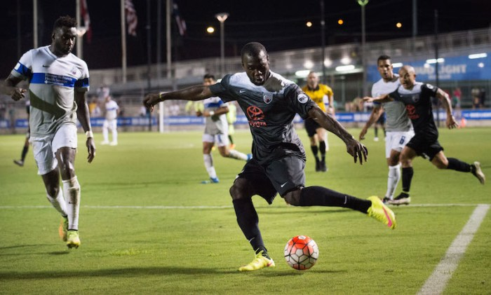 Franck Tayou strikes during the match against the Colorado Springs Switchbacks FC on June 18, 2016, at Toyota Field. Photo by Darren Abate, courtesy of USL.