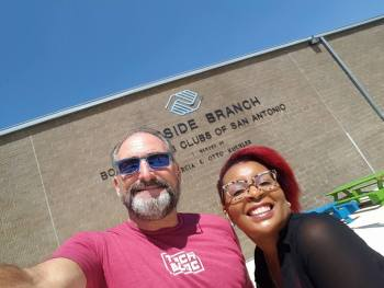 Winslow Swart and Councilman Alan Warrick (D2) staffer Millie Ernestine at Eastside Boys and Girls Club. Photo courtesy of Winslow Consulting.