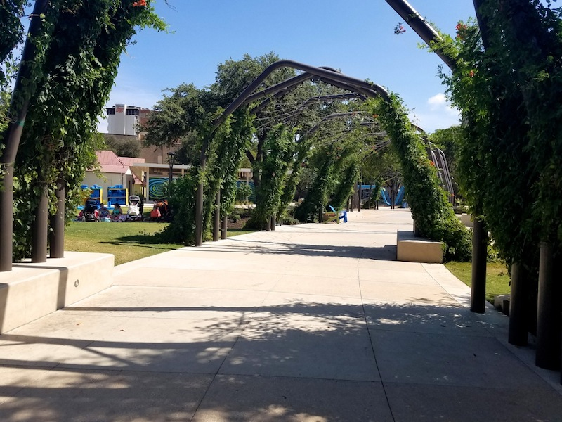 A long promenade stretches through the length of Yanaguana Garden that will eventually connect to Civic Park. Photo by Iris Dimmick.