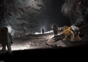 Astronauts and robots are likely to split the roles of initial reconnaissance within lunar caves. Photo courtesy of Exploration Architecture Corporation.