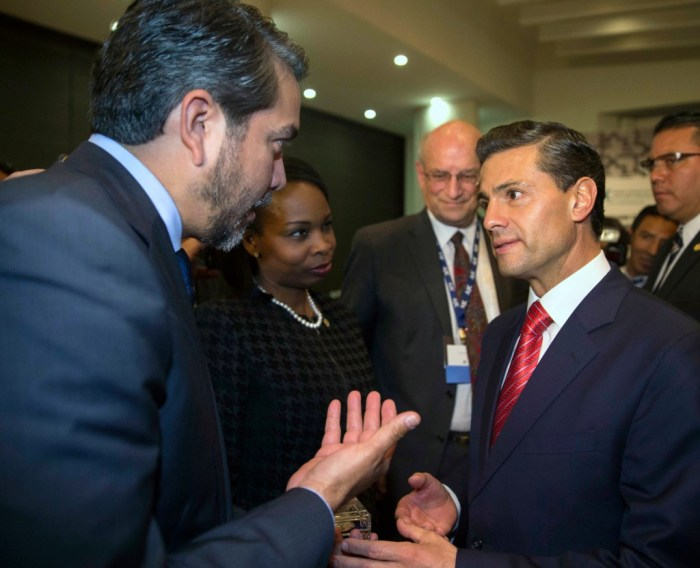During a trip to Mexico last November, Councilman Roberto Treviño (D1) handed Mexican President Enrique Peña Nieto an artifact from the 1718 Mission San Antonio de Valero and invited him to San Antonio's Tricentennial.  Photo by Juan Carlos Morales.