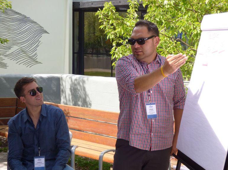 Alberto Alatamirano (left) and Efrain Escobedo discuss digital mobilizing and long-term grassroots activism. Photo courtesy of Alberto Altamirano.