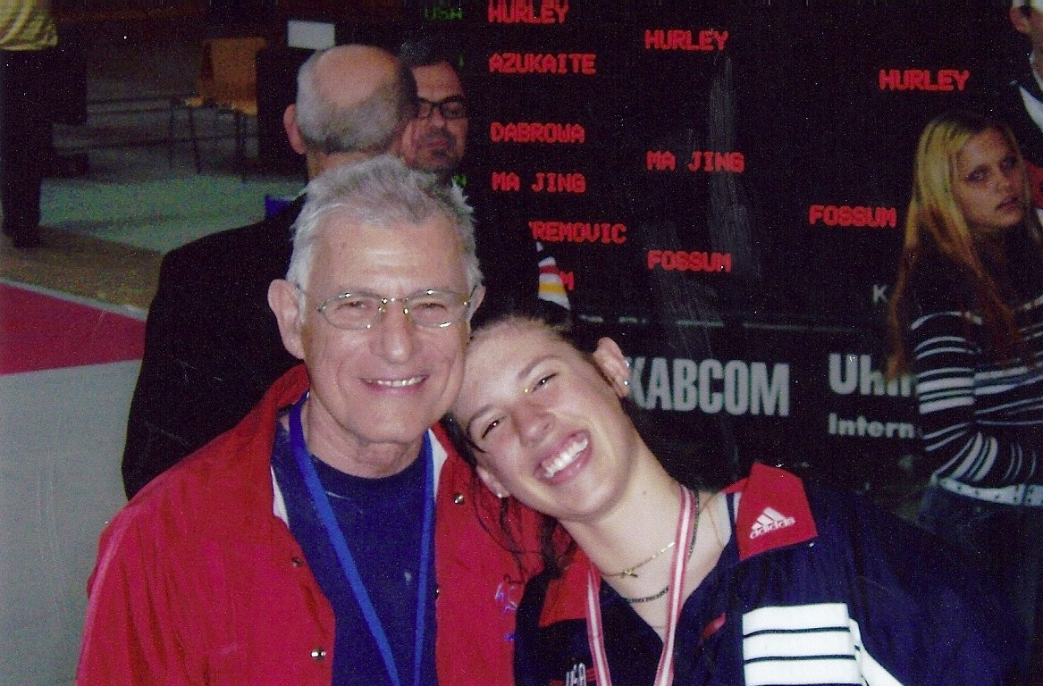 Kelley and her dad (Bob Hurley) at the Cadet World Championships in 2005 in Linz, Austria after a win. Courtesy photo.