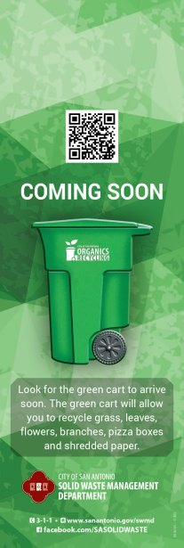 Green bins will soon be available city-wide for residential organics recycling. Image from San Antonio's Solid Waste Department