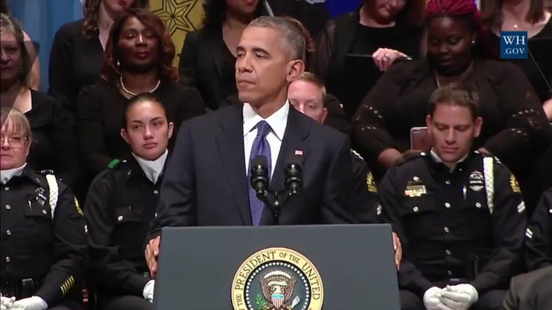 U.S. President Barack Obama speaks during a memorial service following the police shootings in Dallas on July 12, 2016. Screen shot from the video recording provided by The White House.