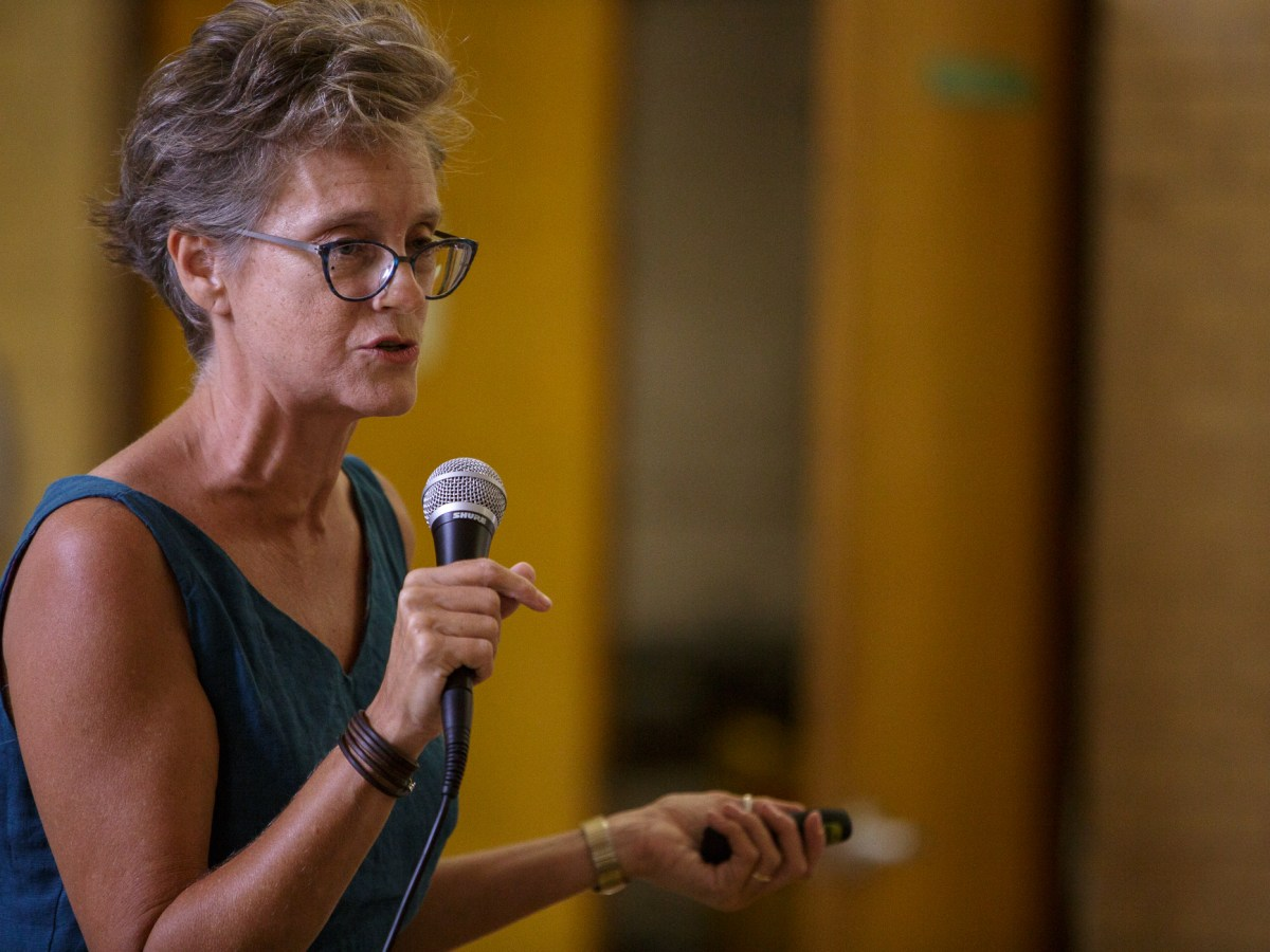 Trinity University Associate Professor of Sociology and Anthropology Christine Drennon presents the history of public education at Sam Houston High School. Photo by Scott Ball.