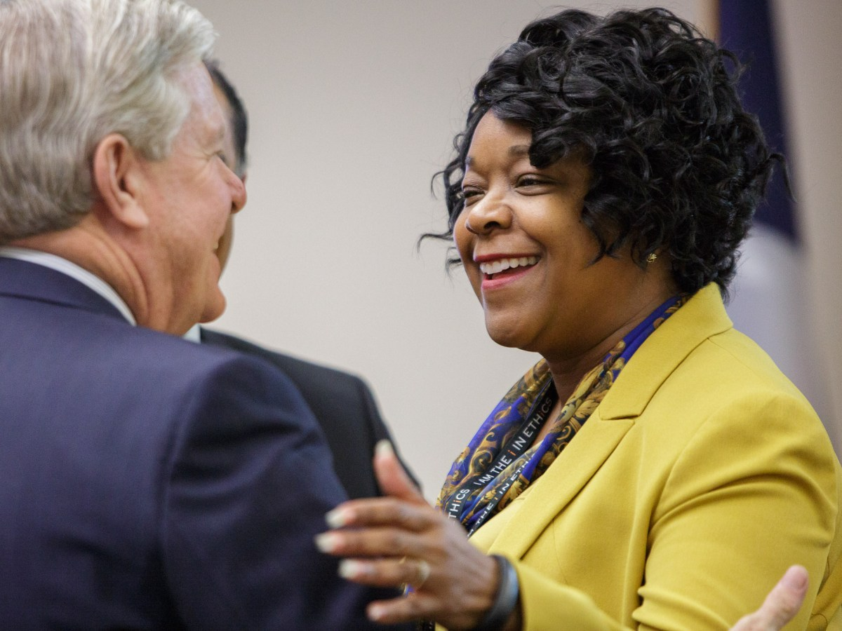 CPS Energy President & Chief Executive Officer Paula Gold-Williams is congratulated before the official announcement of her position at a CPS Energy Board Meeting on July 25, 2016. Photo by Scott Ball.