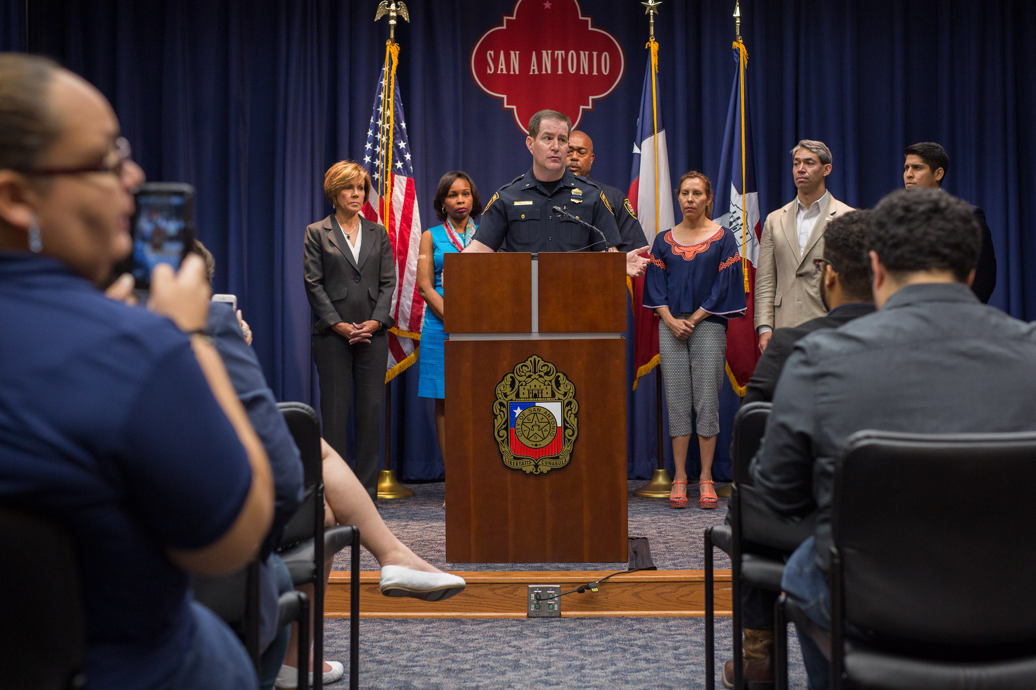 San Antonio Police Department Deputy Chief Anthony Treviño provides a statement following the violence that has occurred across the country this week. Photo by Scott Ball.