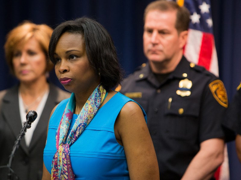 Mayor Ivy Taylor listens to the floor of media for questions. Photo by Scott Ball.