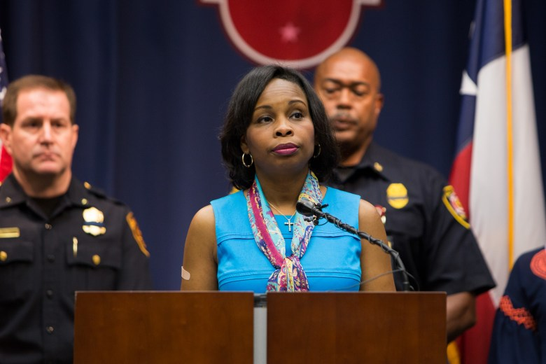 Mayor Ivy Taylor gives a statement speaking to the tragic violence that has spread across the nation. Photo by Scott Ball.