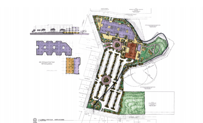 Conceptual massing study by ford, powell & carson shows massive parking lot envisioned as part of new Alamo Colleges central headquarterson former Playland Park site. Rendering courtesy of ford, powell & carson and WestEast Design Group.