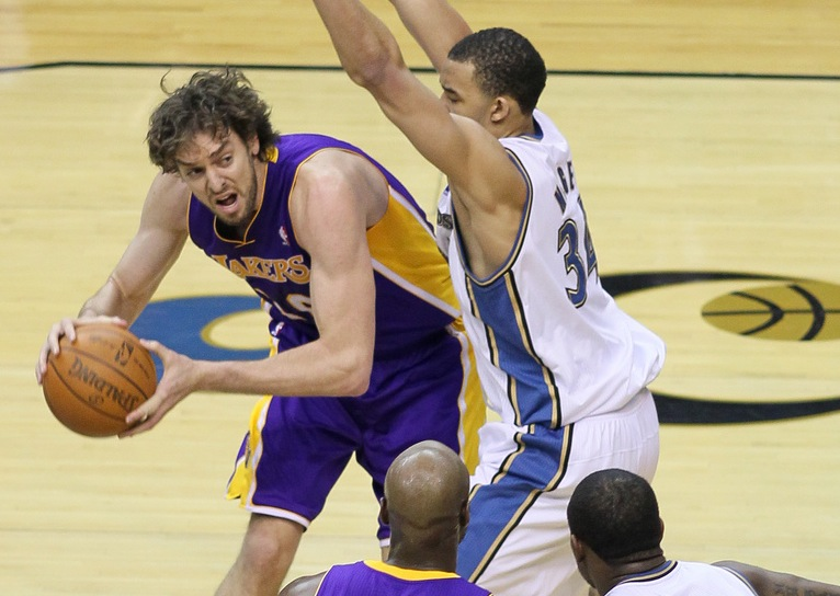As a member of the Los Angeles Lakers, Paul Gasol (left) won NBA titles in 2009 and 2010. They played the Washington Wizards on Dec. 14, 2010. Photo by Keith Allison vis Flickr.