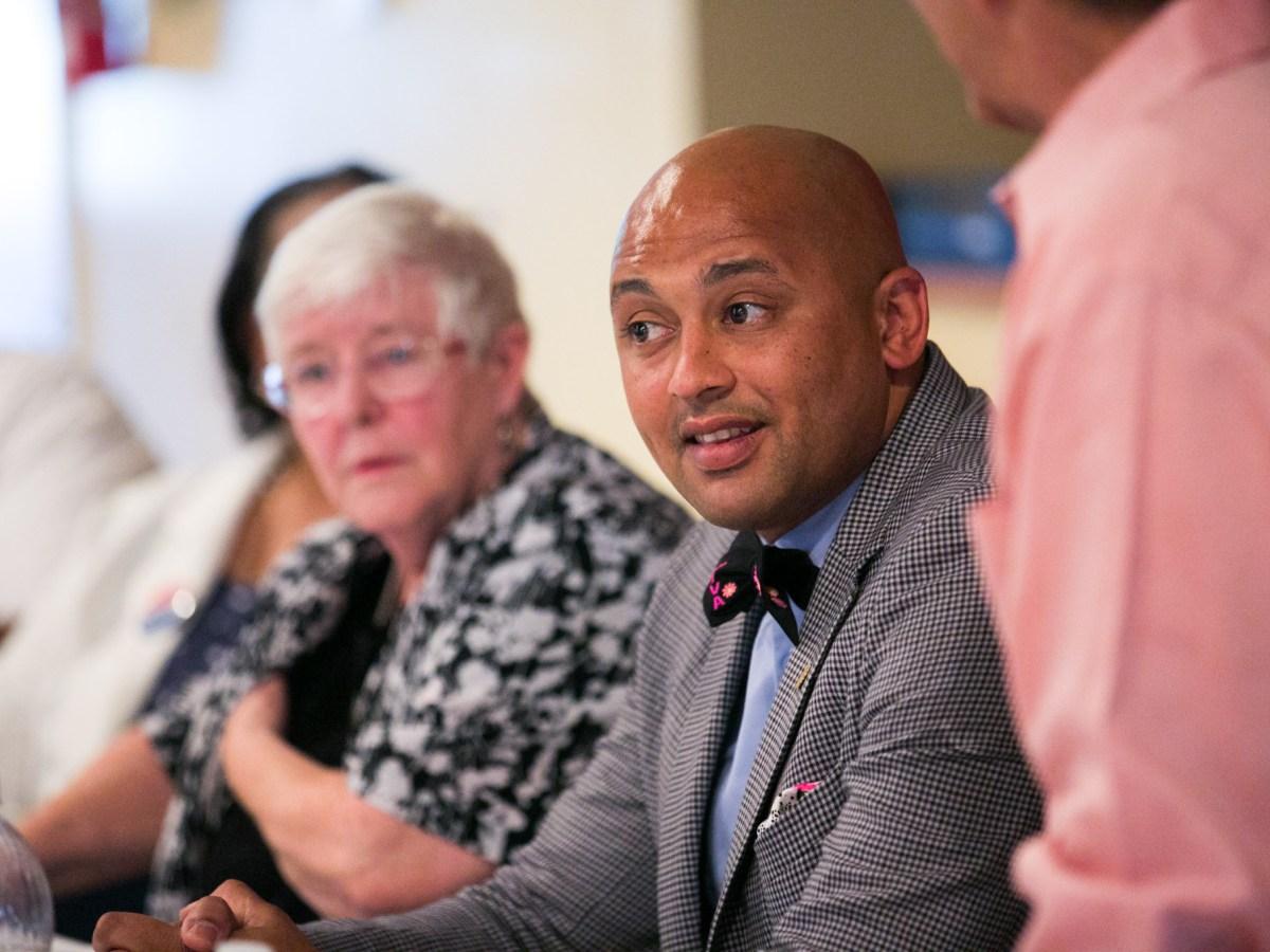 City Councilman Alan Warrick (D2) speaks about the efforts to increase minimum wage. Photo by Kathryn Boyd-Batstone.