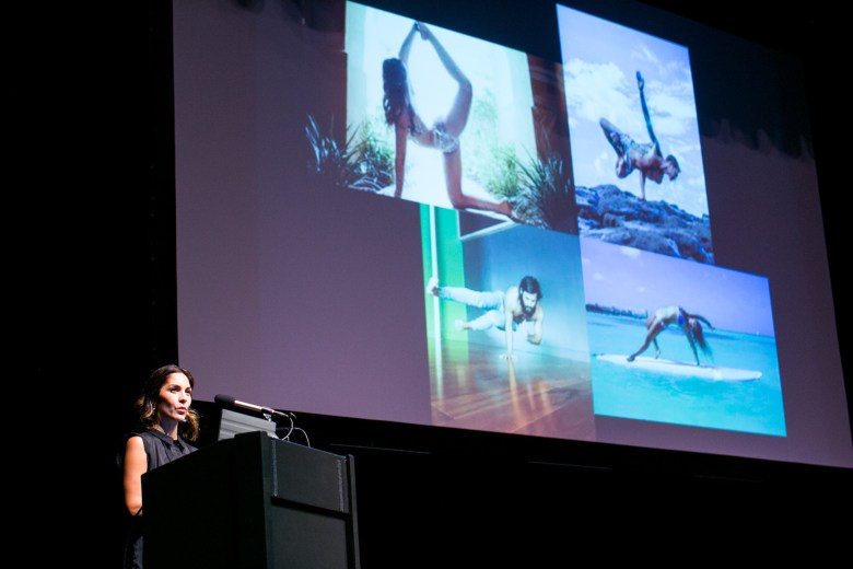 """Yogipreneur Kristal Cuevas speaks about """"yama and niyamas,"""" the ethical guidelines to living and yoga. Photo by Kathryn Boyd-Batstone."""
