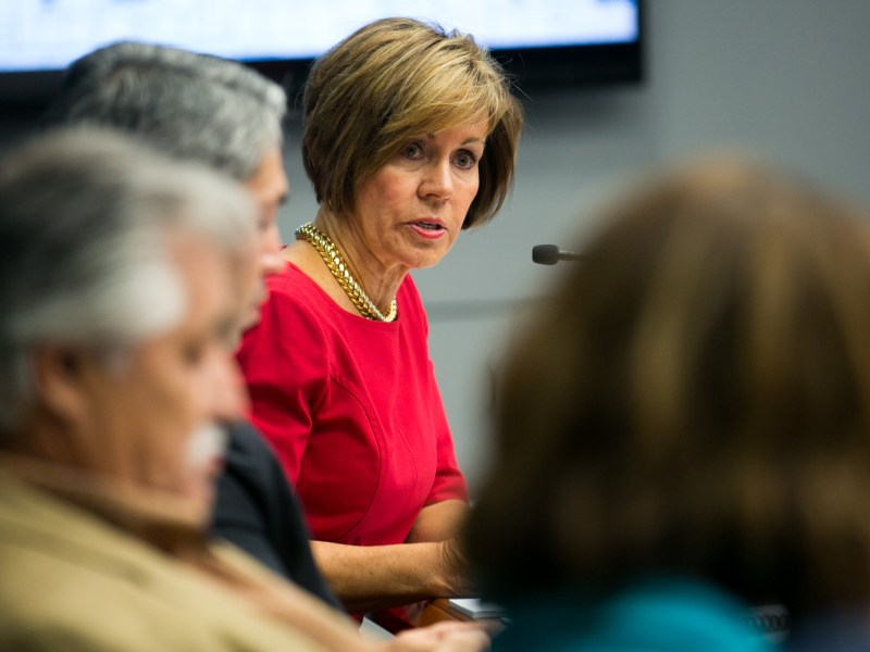 San Antonio City Manager Sheryl Sculley gives a brief overview of the City's 2017 budget on Aug. 24, 2016. Photo by Kathryn Boyd-Batstone