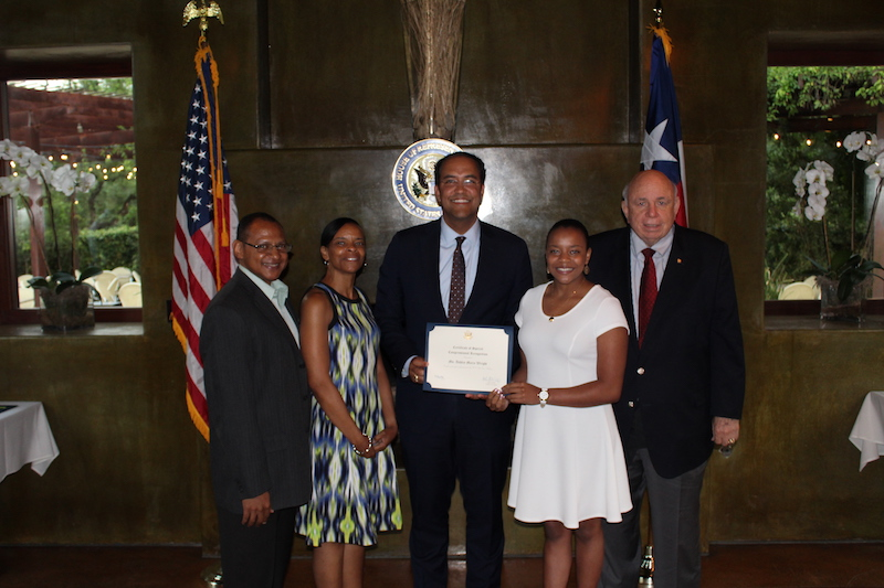 (from left) Paul and Kelly Wright, U.S. Rep. Will Hurd, Ashley Wright (U.S. Air Force Academy), and Col. Findley Brewster. Courtesy photo.